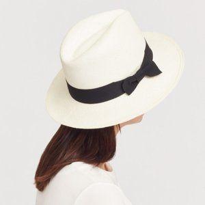 Cuyana Panama Hat Black/White Size 57